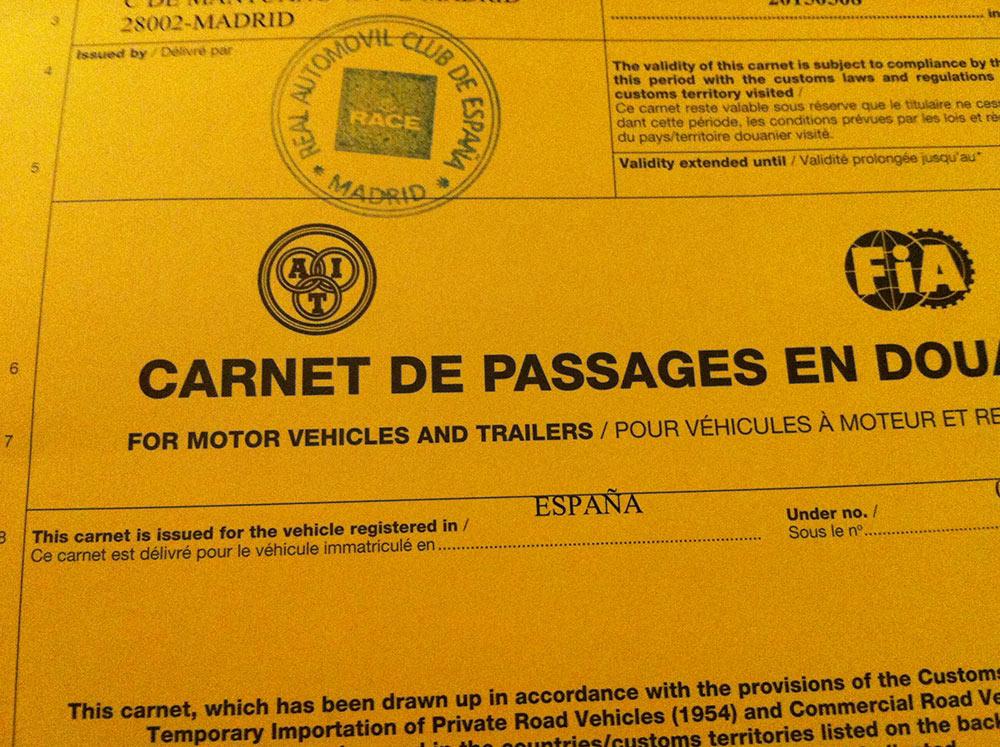 Carnet de Passages en Douane (CPD)